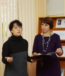 Инга Чурбанова (поэт, дочь Ольги Фокиной), Татьяна Верещагина (директор школы №21 им. В.И. Белова)